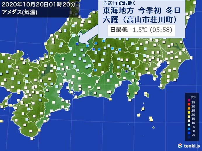 20日 朝の最低気温