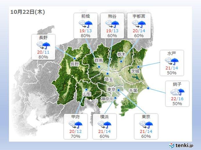 木曜日から金曜日は雨 ただ気温は高め