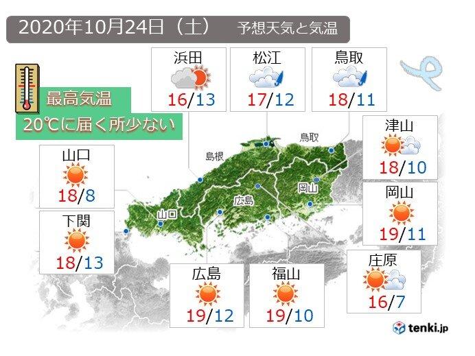 24日 日中も風が冷たく、山陰や山陽北部は肌寒い