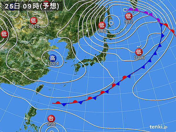 25日日曜日 北海道で雨・強風続く