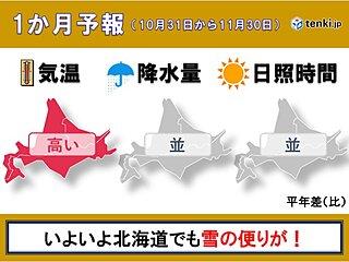 北海道の1か月予報 本格的な雪のシーズンへ