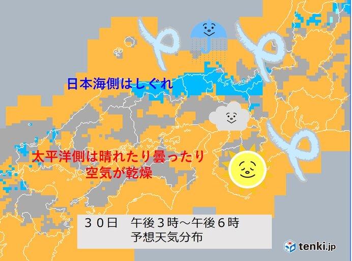 日本海側はしぐれ 太平洋側は晴れて空気が乾く