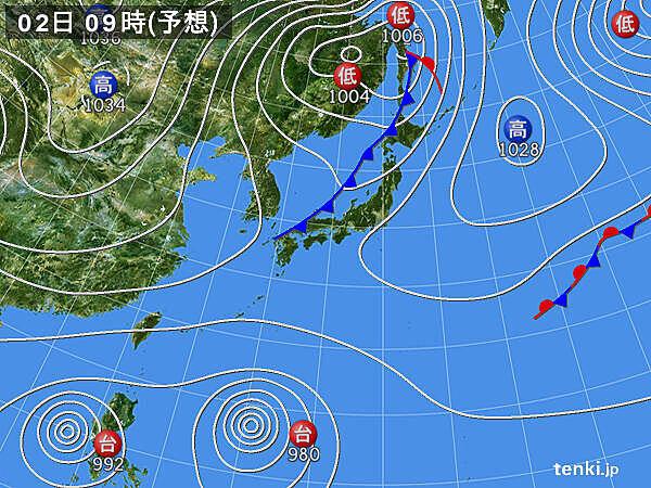 11月1日夜~2日 寒冷前線が日本列島を通過 寒気流入へ