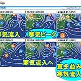 あす雨 雨のあと寒気流入へ 日曜は北海道の上空に真冬並みの寒気流入か