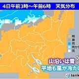 関東甲信 今夜から明日 冷たい北風 峠は雪に