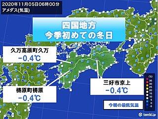 四国 山間部で今季初めて0度を下回り冬日に