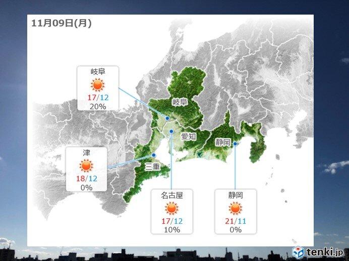 9日の東海地方の天気