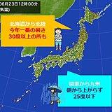 九州より北海道が暑い 30度以上の所も