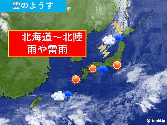 13日 北海道から北陸に前線近づく 不安定な天気に