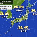 汗ばむくらいの陽気 松江や鳥取、福井、富山で最も遅い夏日を記録