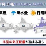 北海道の1か月 11月終盤からの寒気の強まりに注意