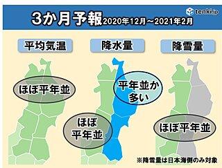 東北 向こう3か月(12月~2月)の天候 日本海側を中心に大雪に注意