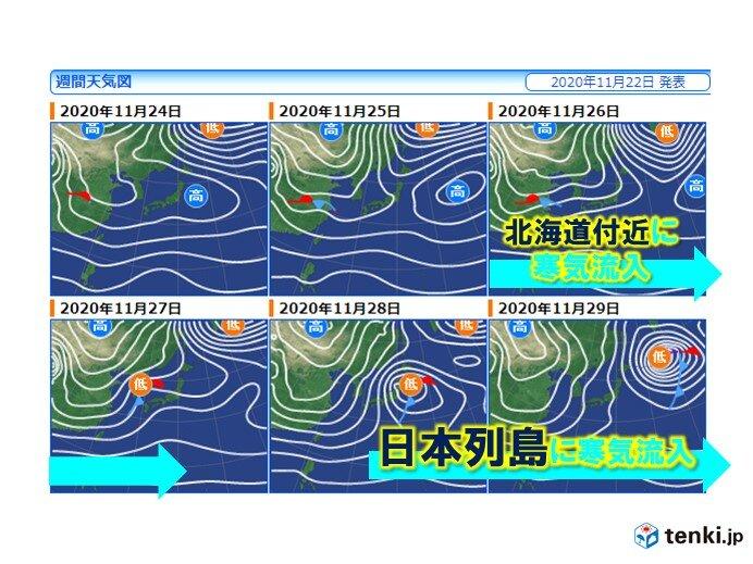 28日頃から急に冬らしく 冷え込みも本格的に 東京都心も5℃前後の予想