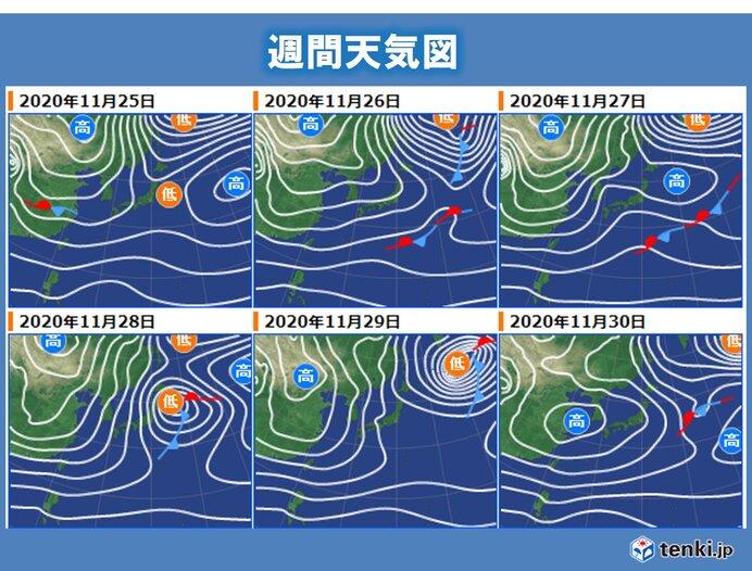 あす24日(火)~25日(水) 気温が平年より高い所が多い