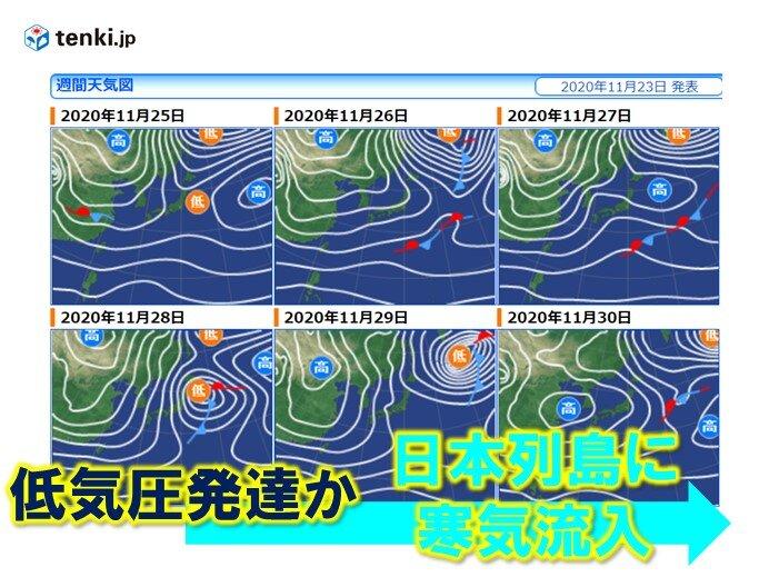 寒気流入度々 28日に低気圧が通過したあと日本列島は冬本番