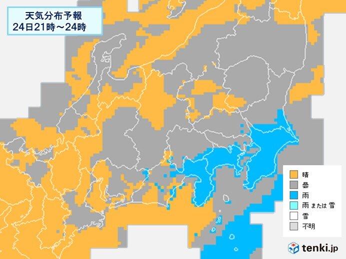 東海や関東 夜は所々で雨