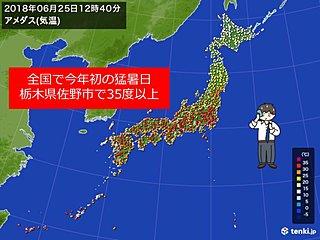佐野市で35度超 全国で今年初の猛暑日