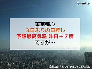 東京都心 3日ぶりの日差し 気温のアップダウンに注意