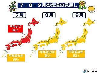 梅雨明け早く酷暑 残暑厳しい 3か月予報