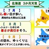 北海道の3か月予報 夏が長引く