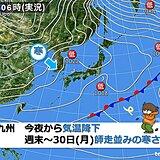 九州 今夜から気温降下 週末~30日(月)ひと足早く師走の寒さ