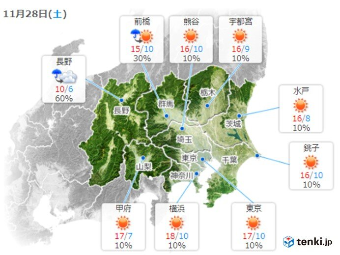 関東 北風冷たい一日 夜はグッと冷え込む 服装注意