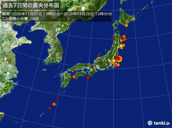 ここ1週間の地震回数 関東で最大震度5弱