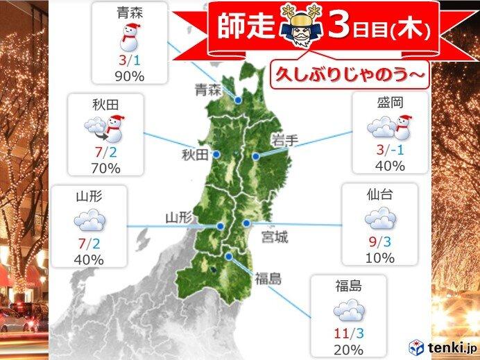 東北 師走3日目 南部日本海側でゴロゴロ 北部は雪化粧