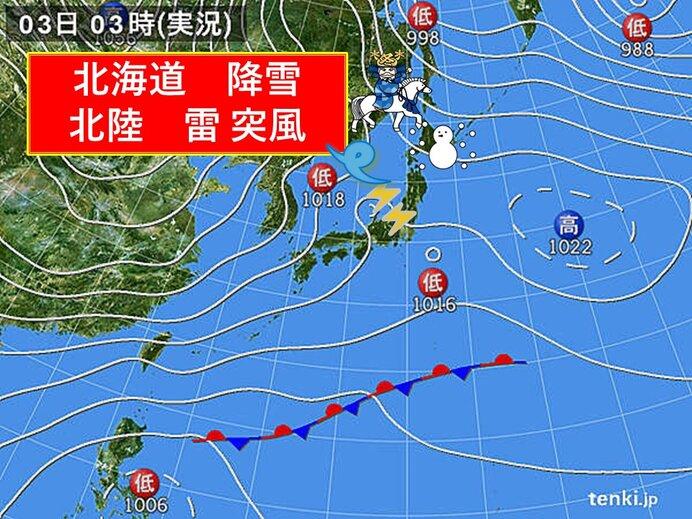 きょうの天気 日本海側不安定 雨や雷雨で雪や吹雪も