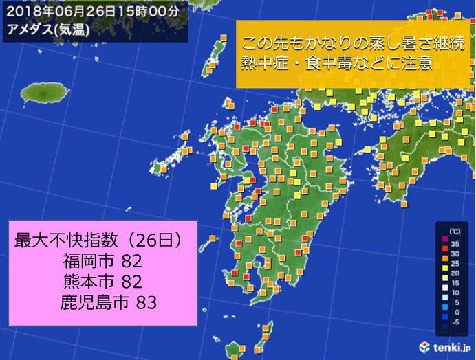 九州 かなりの蒸し暑さ