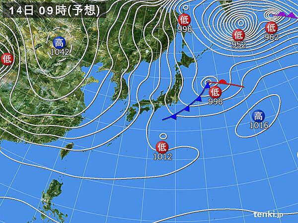 14日 日本付近は冬型の気圧配置に 強い寒気が九州付近まで流入
