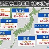 日本海側で大雪 北陸山沿いで24時間降雪量90センチ 警報級のおそれも