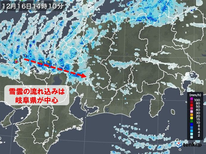 東海地方 現在の雪の状況