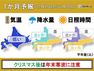 北海道の1か月予報 クリスマス後は年越し寒波に注意