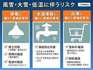 北陸 年越し寒波襲来! 大雪や低温に備え、早めの対策や出控え検討を!!