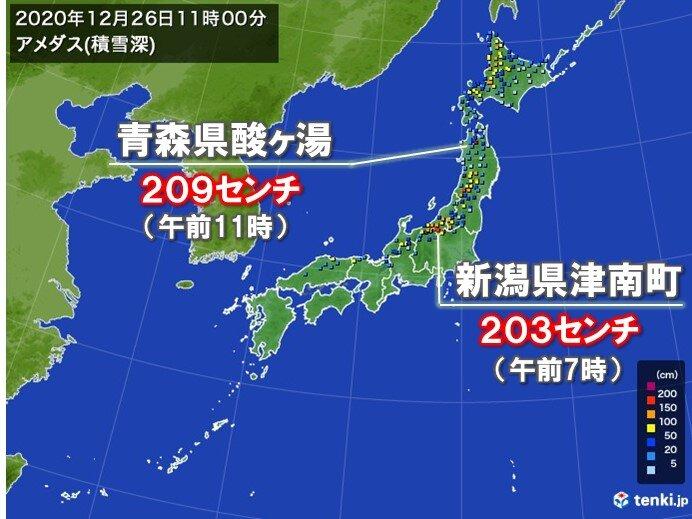 日本海側では積雪増加で再び2メートル超 猛吹雪の所も