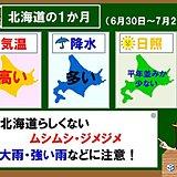 北海道の1か月 ムシムシ空気で雨が多い
