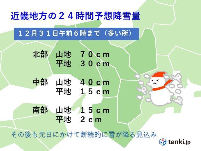 関西 きょう30日 雨は次第に雪へ変わる