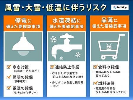 大雪による警戒事項