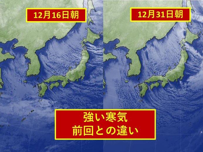 寒波 12月中旬と今回との違い