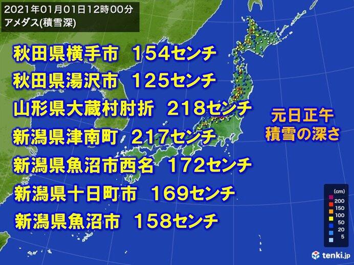 東北や新潟で一日に50センチ以上積雪増加(日直予報士 2021年01月01日 ...