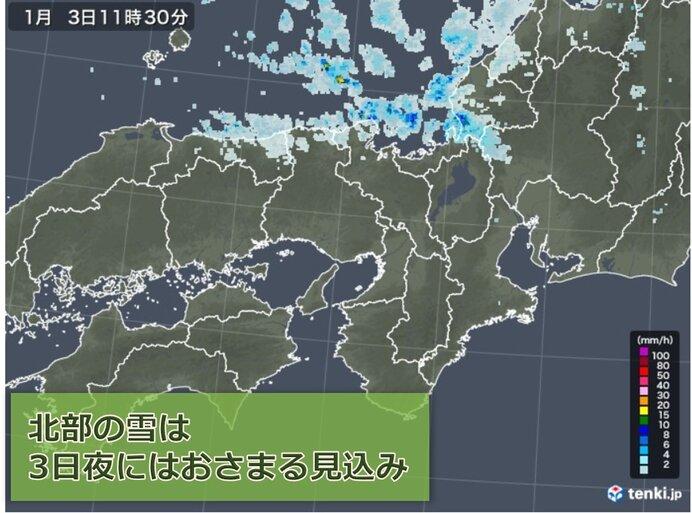 3日は時折日差しが途切れ、北部では雪や雨