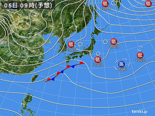 5日 東北では太平洋側も含めて雪に 九州南部などに雨雲かかる