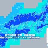 関西 あす8日の朝は数年に一度の厳しい冷え込みに