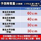 東北 9日(土)明け方にかけて日本海側中心に大雪に注意、警戒