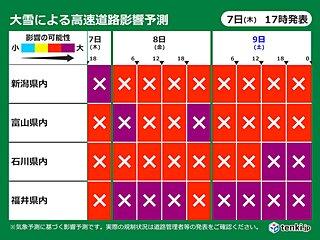 北陸 きょう7日夜から降雪量激増の予想 大雪要警戒!!
