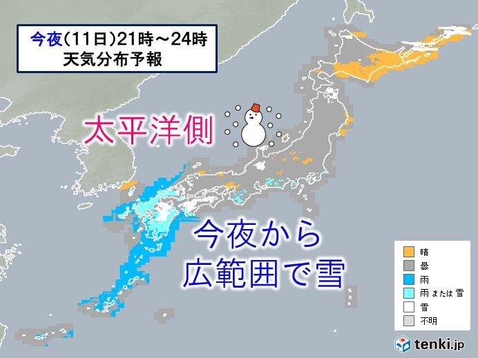 太平洋側 今夜から広範囲で雪 大阪や都心など市街地も雪か