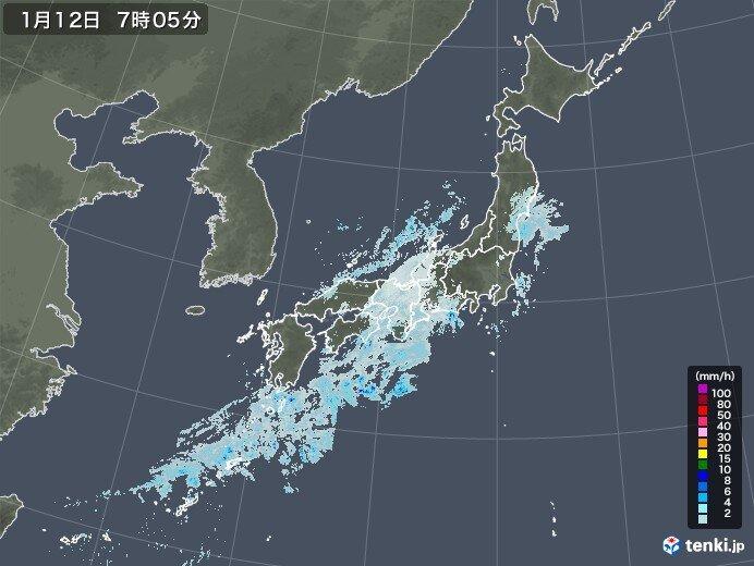 12日 近畿や東海は昼頃まで、関東甲信は夕方まで雪や雨 北陸は融雪注意