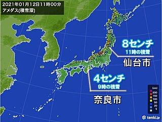 太平洋側の地域で積雪 大阪でも今季初めてうっすら積もる