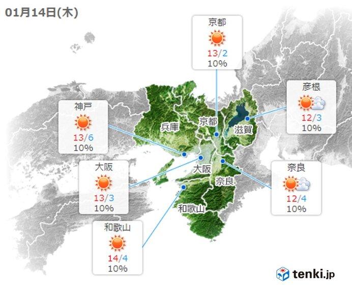 あす14日は晴れて気温上昇